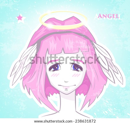 vector portrait of an angel