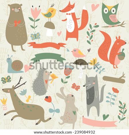 north wood animals in cartoon