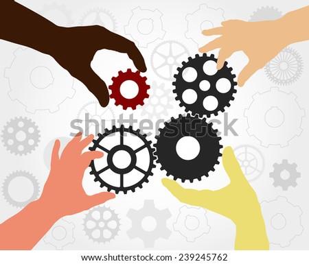 teamwork hand silhouettes