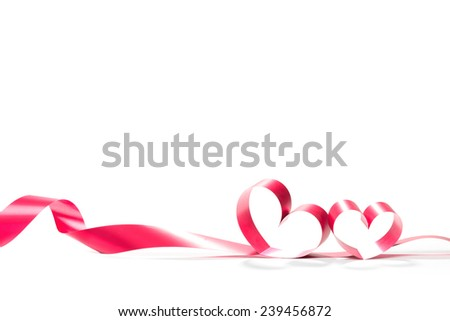 ribbons shaped as hearts on