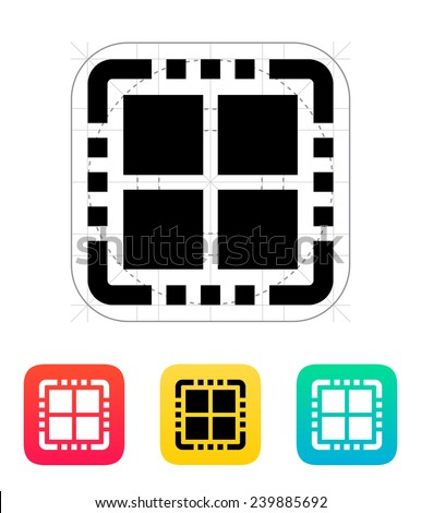 quad core cpu icon vector