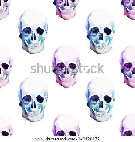 skull watercolor pattern