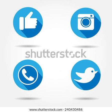 blue flat social network icon