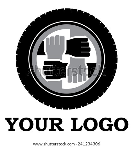 wheel and hands vector logo