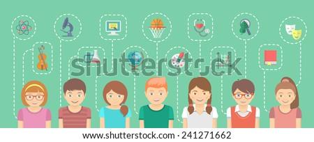 vector cartoon flat horizontal