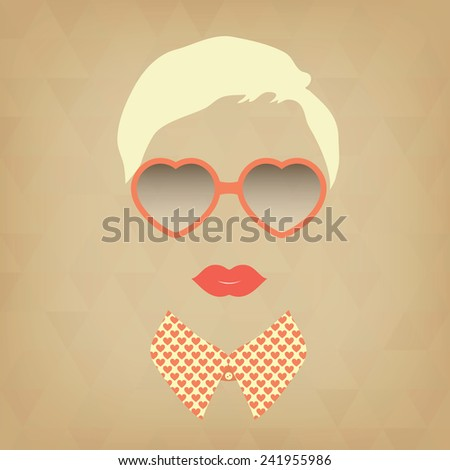 hipster girl and heart shaped