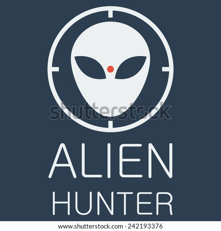 vector alien hunter on blue