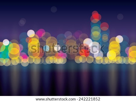 blurred lights of big city in