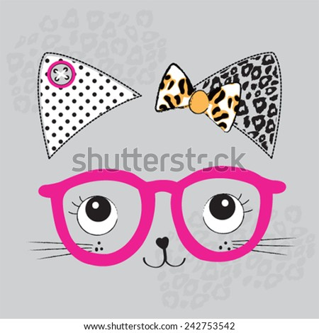 cute cat face with glasses
