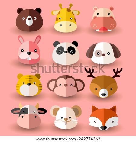 set of animal head  vector