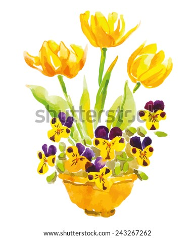 yellow tulips and pansies in a