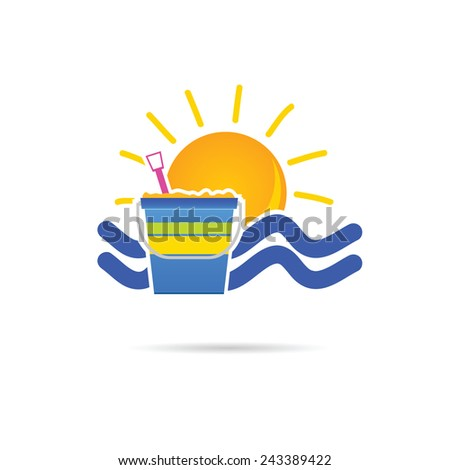 sun icon with beach basket