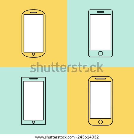 mobile phone icons set