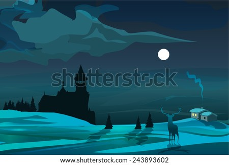 moonlight scene with trees
