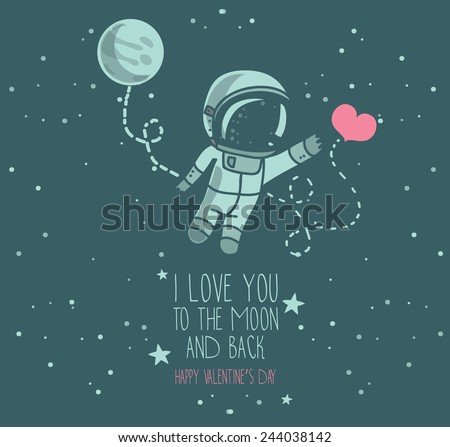 cute hand drawn astronaut with