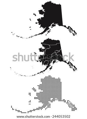 dotted and silhouette alaska map