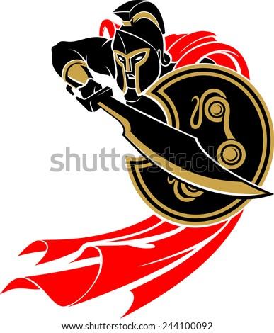spartan battle stance silhouette