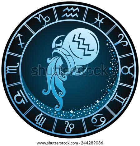 dark blue round aquarius zodiac