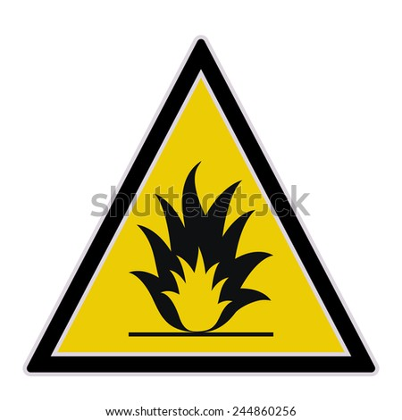 vector yellow sign with fire
