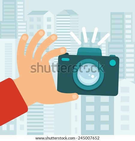 vector camera in flat style