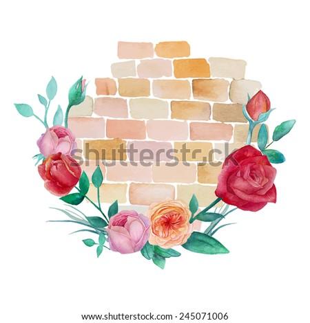 watercolor brick wall roses