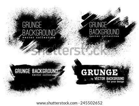set of black ink vector stains