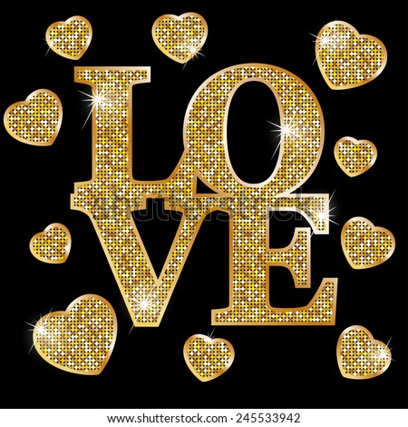 love  gold letters