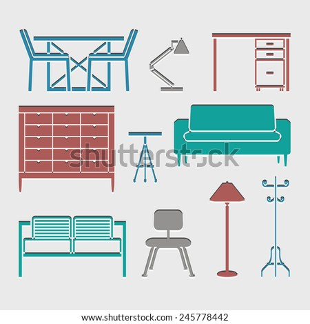 furniture icons set great for