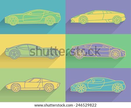 flat line icons set of 6 sport