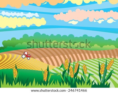 rural landscape with red