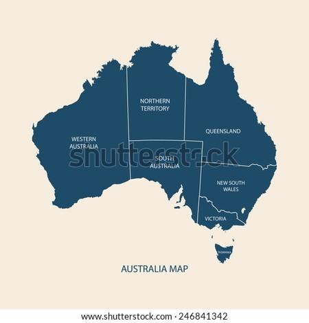 australia map with regions