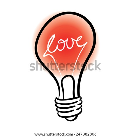 vector lighting bulb with love