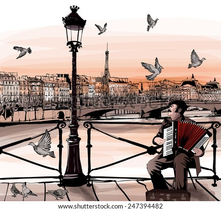 accordionist playing on pont
