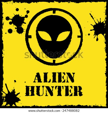 vector alien hunter logo on red