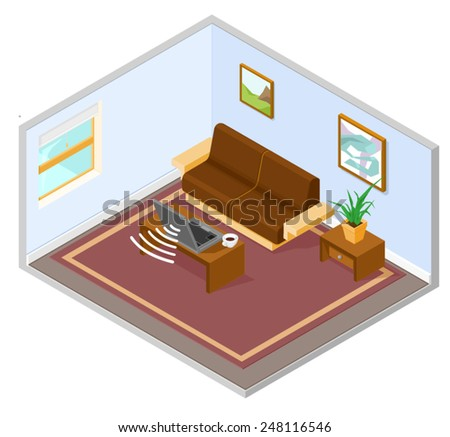 an isometric interior depicting