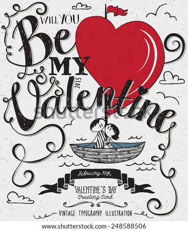 valentine's day typography art