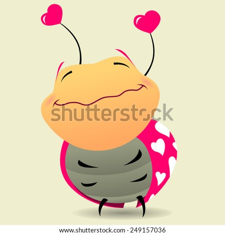 smiling bug with hearts