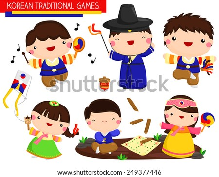 korean traditional games vector