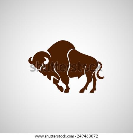 brown running bison vector sign