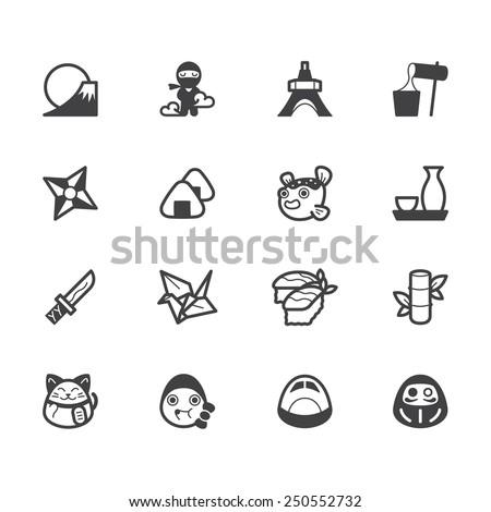 japan element vector black icon