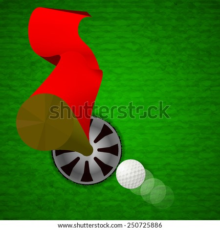 top view of white golf ball is