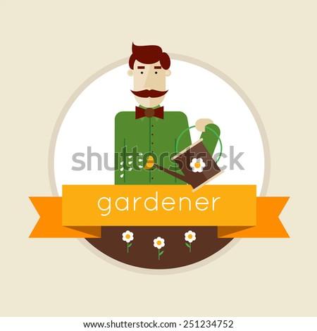 gardener man character holding