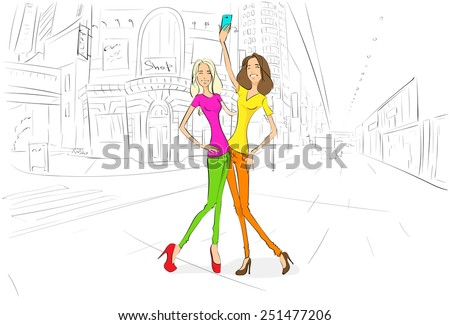 couple girls friends taking