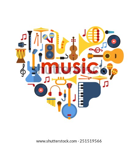 music heart set vector