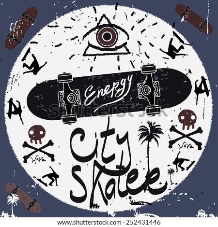 vintage label  skateboard style