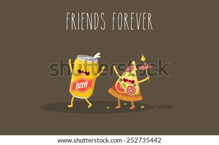 pizza and beer fastfood
