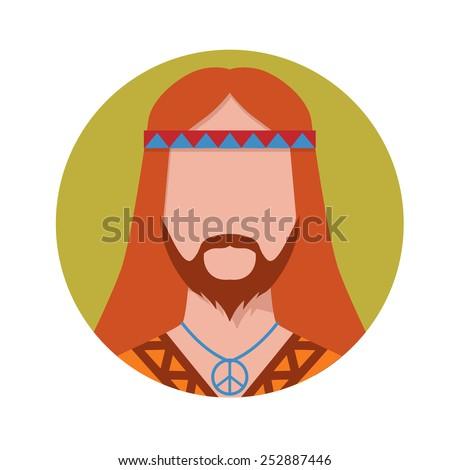 hippie male avatar vector