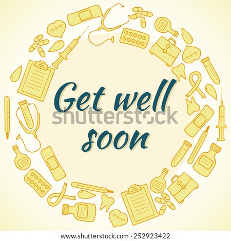 get well soon card frame with