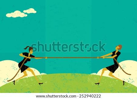 tug of war businesswomen