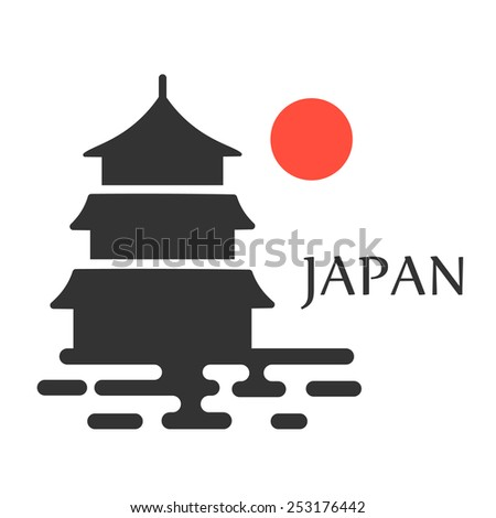 asian pagoda tower vector icon